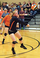Photo by Randy Moll<br /> Sydney King, a Gravette senior, receives a serve during the final regular season game against the Lady Lions at Gravette High School on Thursday (Oct. 12, 2017).