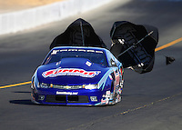 Jul 30, 2016; Sonoma, CA, USA; NHRA pro stock driver Jason Line during qualifying for the Sonoma Nationals at Sonoma Raceway. Mandatory Credit: Mark J. Rebilas-USA TODAY Sports