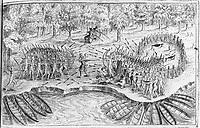Samuel de Champlain et des Algonquiens attaquent un fort iroquois en 1609