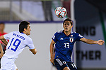 Muto Yoshinori of Japan (R) fights for the ball with Otabek Shukurov of Uzbekistan (L) during the AFC Asian Cup UAE 2019 Group F match between Japan (JPN) and Uzbekistan (UZB) at Khalifa Bin Zayed Stadium on 17 January 2019 in Al Ain, United Arab Emirates. Photo by Marcio Rodrigo Machado / Power Sport Images