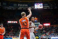 VALENCIA, SPAIN - NOVEMBER 18: Randal Falker and Justin Hamilton during EUROCUP match between Valencia Basket Club and CAI SLUC Nancy at Fonteta Stadium on November 18, 2015 in Valencia, Spain