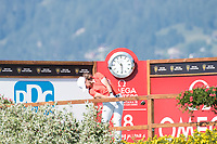 Tommy Fleetwood (ENG) in action on the 18th hole during second round at the Omega European Masters, Golf Club Crans-sur-Sierre, Crans-Montana, Valais, Switzerland. 30/08/19.<br /> Picture Stefano DiMaria / Golffile.ie<br /> <br /> All photo usage must carry mandatory copyright credit (© Golffile | Stefano DiMaria)