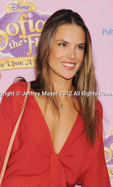 "BURBANK, CA - NOVEMBER 10: Alessandra Ambrosio arrive at the Disney Channel's Premiere Party For ""Sofia The First: Once Upon A Princess"" at the Walt Disney Studios on November 10, 2012 in Burbank, California."