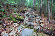 October 2014 - The Mt Tecumseh Trail in Waterville Valley, New Hampshire during the month of October. In 2011, the year trail work (stone steps) was done in this section, there was no visible erosion on the hillside of the trail. See how this section of trail looked in 2011: http://bit.ly/3760BXz