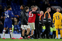 Manchester United Manager, Ole Gunnar Solskjaer hugs Luke Shaw at the final whistle during Chelsea vs Manchester United, Premier League Football at Stamford Bridge on 17th February 2020