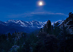 moonset, morning, Rocky Mountains, Estes Park, Colorado, USA