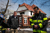 NYC mayor Bill de Blasio arrives for a press conference in front of the house where at least 7 children died during the fire in Brooklyn, New York. 21.03.2015. Eduardo Munoz Alvarez/VIEWpress.