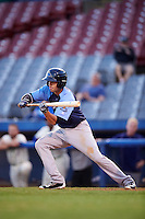 Trenton Thunder second baseman Tyler Wade (14) squares to bunt during the second game of a doubleheader against the Hartford Yard Goats on June 1, 2016 at Sen. Thomas J. Dodd Memorial Stadium in Norwich, Connecticut.  Trenton defeated Hartford 2-1.  (Mike Janes/Four Seam Images)