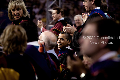 Tempe, AZ - May 13, 2009 -- United States President Barack Obama at Arizona State University's commencement ceremony in Tempe, Arizona, May 13, 2009..Mandatory Credit: Pete Souza - White House via CNP