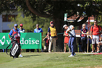 Doug Ghim (USA) plays his 2nd shot on the 5th hole during Sunday's Final Round 4 of the 2018 Omega European Masters, held at the Golf Club Crans-Sur-Sierre, Crans Montana, Switzerland. 9th September 2018.<br /> Picture: Eoin Clarke | Golffile<br /> <br /> <br /> All photos usage must carry mandatory copyright credit (&copy; Golffile | Eoin Clarke)