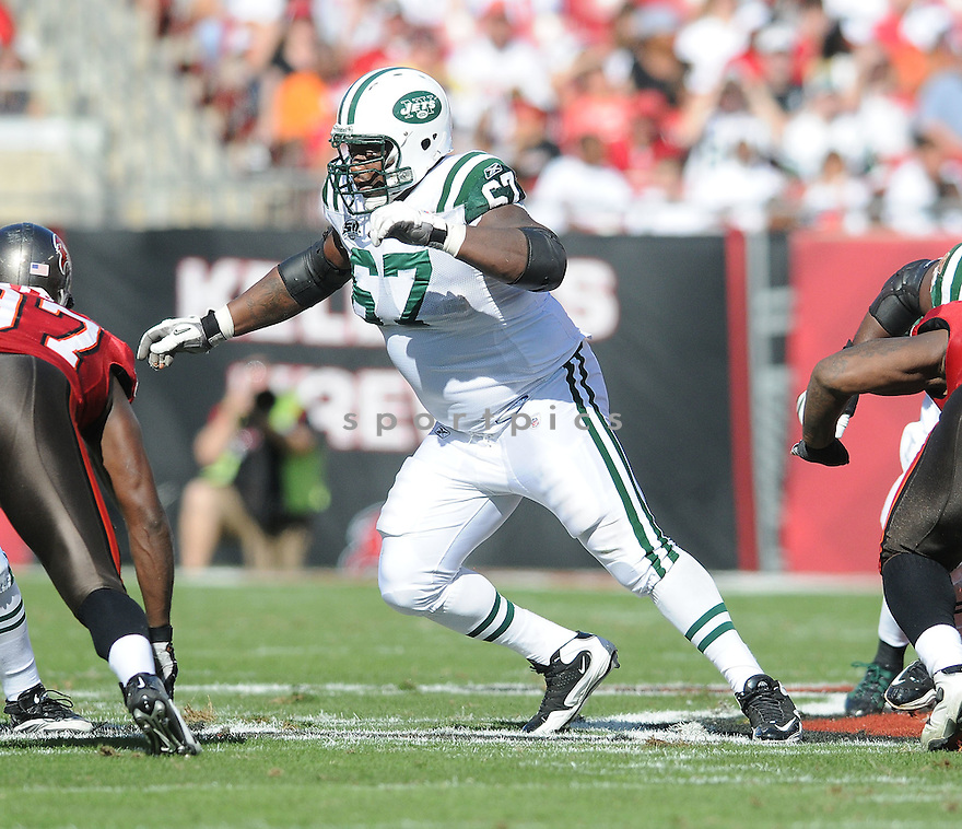 DAMIEN WOODY, of the New York Jets, in action during the Jets game against the Tampa Bay Buccaneers on December 13, 2009 in Tampa, FL. Jets won 26-3.