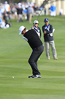 Former ice hockey superstar Wayne Gretzky plays his 2nd shot on the 18th hole during Saturday's Round 3 of the 2018 AT&amp;T Pebble Beach Pro-Am, held over 3 courses Pebble Beach, Spyglass Hill and Monterey, California, USA. 10th February 2018.<br /> Picture: Eoin Clarke | Golffile<br /> <br /> <br /> All photos usage must carry mandatory copyright credit (&copy; Golffile | Eoin Clarke)