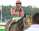 Sippican Harbor (no. 6), ridden by Joel Rosario and trained by Gary Contessa, wins the 127th running of the grade 1 Spinaway Stakes for two year old fillies on September 01, 2018 at Saratoga Race Course in Saratoga Springs, New York. (Bob Mayberger/Eclipse Sportswire)
