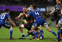DURBAN, SOUTH AFRICA - MAY 27: Jean-Luc du Preez of the Cell C Sharks hands off Eben Etzebeth (vice-captain) of the DHL Stormers during the Super Rugby match between Cell C Sharks and DHL Stormers at Growthpoint Kings Park on May 27, 2017 in Durban, South Africa. Photo by Steve Haag / stevehaagsports.com