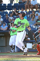 Drew Ellis (15) of the Hillsboro Hops bats against the Spokane Indians at Ron Tonkin Field on July 23, 2017 in Hillsboro, Oregon. Spokane defeated Hillsboro, 5-3. (Larry Goren/Four Seam Images)