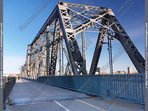 The Royal Alexandra Interprovincial Bridge over Ottawa River between Ottawa, Ontario and Gatineau, Quebec. Known as Alexandra Bridge and Interprovincial Bridge. Canada.