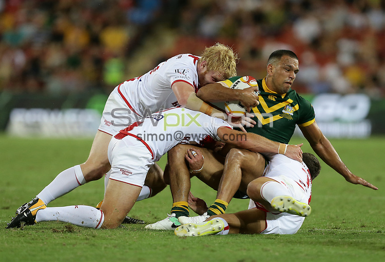Australia's Will Chambers is tackled during the Rugby League World Cup final between Australia and England, Suncorp Stadium, Brisbane, Australia, 2 December 2017. Copyright Image: Tertius Pickard / www.photosport.nz MANDATORY CREDIT/BYLINE : SWpix.com/PhotosportNZ