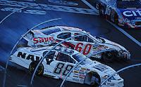 Mar 1, 2008; Las Vegas, NV, USA; Nascar Nationwide Series drivers Carl Edwards (60) and Brad Keselowski (88) crash during the Sams Town 300 at the Las Vegas Motor Speedway. Mandatory Credit: Mark J. Rebilas-US PRESSWIRE
