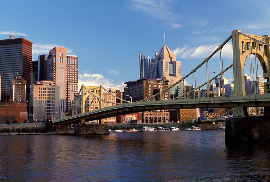 skyline, PA, Pittsburgh, bridge, Pennsylvania, downtown skyline of Pittsburgh, 7th Street Bridge, Allegheny River.