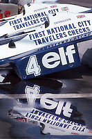 LONG BEACH, CA: Spare bodywork for Patrick Depailler's Tyrrell P34 six-wheel Formula 1 car in the pit lane before practice for the United States Grand Prix West on April 3, 1977, on the temporary street circuit in Long Beach, California.