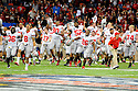 The Ohio State University football celebrates their win at the Allstate Sugar Bowl in New Orleans, Louisiana January, 4, 2011. The Ohio State Buckeyes defeated the Arkansas Razorbacks, 31- 26.<br /> <br /> <br /> <br /> (Cheryl Gerber/AP Images for Allstate)