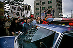 War protesters at the Federal Building in downtown Seattle protesting the US involvement in the Persian Gulf January 15 deadline 1991 Seattle Washington State USA