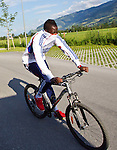 05.07.2011, Tauern SPA, Kaprun, AUT, Olympique Lyon, Training, im Bild beim Radfahren Aly Cissokho, Olympique Lyon // during a training session on bikes of Olympique Lyon, in Kaprun, Austria on 2011/07/05, EXPA Pictures © 2011, PhotoCredit: EXPA/ J. Feichter