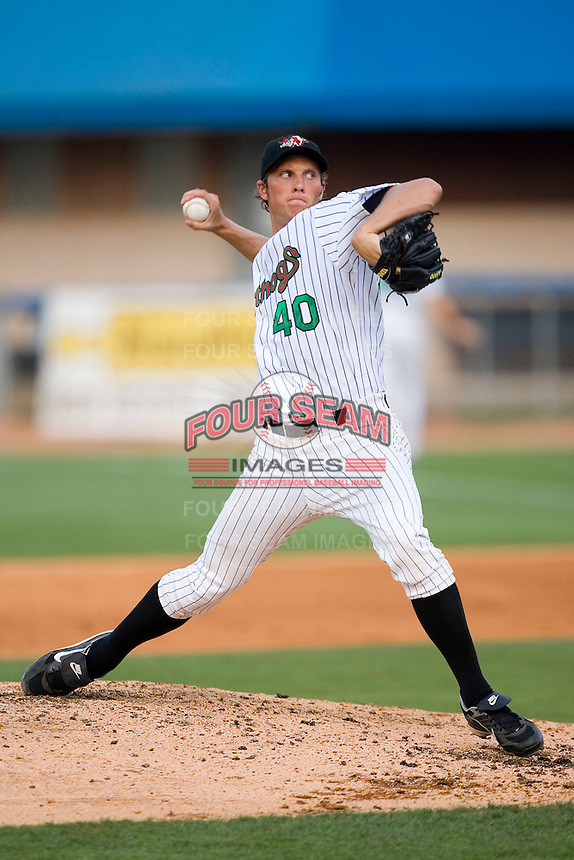 Starting pitcher John Ely (40) of the Winston-Salem Warthogs in action versus the Frederick Keys at Ernie Shore Field in Winston-Salem, NC, Saturday, June 7, 2008.