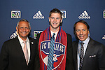 January 17th, 2013: #7 draft pick Walker Zimmerman, selected by FC Dallas. With head coach Schellas Hyndman (left) and Technical Director Fernando Clavijo (right). The 2013 MLS SuperDraft was held during the NSCAA Annual Convention held in Indianapolis, Indiana.