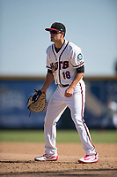 Modesto Nuts first baseman Evan White (18) during a California League game against the Lake Elsinore Storm at John Thurman Field on May 13, 2018 in Modesto, California. Lake Elsinore defeated Modesto 4-3. (Zachary Lucy/Four Seam Images)
