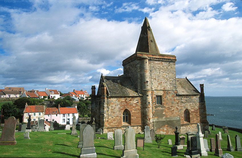 St Monans Church. Site of 15th Century witch killings and trials for witchcraft. It is often said that St Monans is the church nearest the sea in the whole of Scotland, and this may well be the case, being only around 20m from the edge. The church, one of the finest remaining from the Middle Ages in Scotland, was built by King David II Bruce (1329-71), initially for a small house of Dominican friars. Saint Monans, Fife, Scotland..Many of Scotland's castles are associated with ghosts, apparitions and strange noises. They have histories in some cases stretching back over 800 years. Some 150 Scottish castles are known to have this reputation. Apart from histories of murder, romance, and war, there were trials for witchcraft are recorded over several centuries. Fife county of Scotland is situated between the Firth of Tay and the Firth of Forth, with inland boundaries to Perth and Kinross and Clackmannanshire. It was originally one of the Pictish kingdoms, known as Fib, and is still commonly known as the Kingdom of Fife within Scotland.