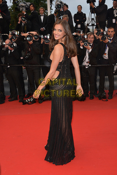 Irina Shayk (Irina Shaykhlislamova). 'All is Lost' premiere at 66th Cannes Film Festival, France 22nd May 2013.full length black dress sheer cut out away side looking over shoulder see through thru.CAP/PL.©Phil Loftus/Capital Pictures.