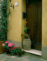 Tuscany, Italy: Potted flowers set in a doorway on the Via del Forno in the hill town of San Quirico d'Orcia