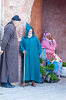 Chefchaouen, Morocco.  People at the Entrance to the Medina.