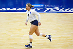 PENSACOLA, FL - DECEMBER 09: Tori Hanson (7) of Concordia University, St. Paul cheers after a teammate scored a point during the Division II Women's Volleyball Championship held at UWF Field House on December 9, 2017 in Pensacola, Florida. (Photo by Timothy Nwachukwu/NCAA Photos via Getty Images)