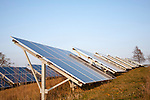 Solar array of photovoltaic panels in countryside at Bromeswell, Suffolk, England