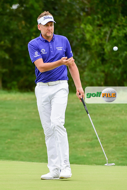 Ian Poulter (GBR) hits a long birdie putt on 9 during round 2 of the Valero Texas Open, AT&amp;T Oaks Course, TPC San Antonio, San Antonio, Texas, USA. 4/21/2017.<br /> Picture: Golffile | Ken Murray<br /> <br /> <br /> All photo usage must carry mandatory copyright credit (&copy; Golffile | Ken Murray)