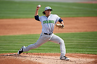 Lynchburg Hillcats starting pitcher Eli Morgan (34) delivers a pitch during the first game of a doubleheader against the Frederick Keys on June 13, 2018 at Nymeo Field at Harry Grove Stadium in Frederick, Maryland.  Frederick defeated Lynchburg 3-0.  (Mike Janes/Four Seam Images)
