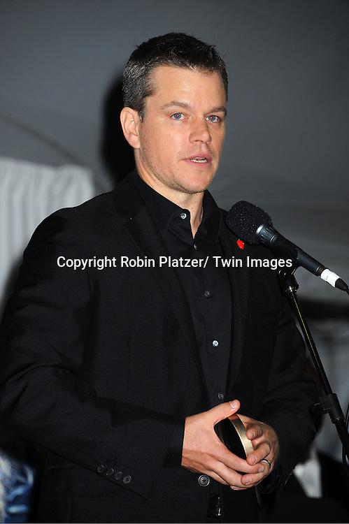 "Matt Damon attending The ""Made in NY"" Awards at Gracie Mansion.on June 6, 2011. Matt Damon, John Leguizammo and Lauren Zalaznick and Sidney Lumet were the honorees."