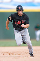 Indianapolis Indians pinch runner J.J. Furmaniak takes off from second base to score a run in the 9th inning versus the Charlotte Knights at Knights Stadium in Fort Mill, SC, Sunday, August 13, 2006.