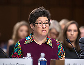 Elizabeth Weintraub, Advocacy Specialist, Association of University Centers on Disabilities testifies against the nomination of Judge Brett Kavanaugh before the US Senate Judiciary Committee on his nomination as Associate Justice of the US Supreme Court to replace the retiring Justice Anthony Kennedy on Capitol Hill in Washington, DC on Friday, September 7, 2018.<br /> Credit: Ron Sachs / CNP