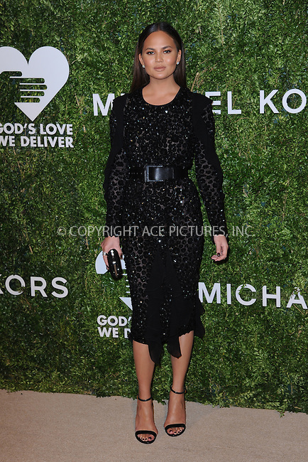 www.acepixs.com<br /> October 17, 2016  New York City<br /> <br /> Chrissy Teigen attending the God's Love We Deliver Golden Heart Awards on October 17, 2016 in New York City.<br /> <br /> <br /> Credit: Kristin Callahan/ACE Pictures<br /> <br /> <br /> Tel: 646 769 0430<br /> Email: info@acepixs.com