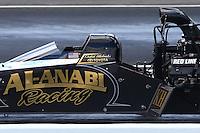 May 31, 2014; Englishtown, NJ, USA; NHRA top fuel driver Khalid Albalooshi during qualifying for the Summernationals at Raceway Park. Mandatory Credit: Mark J. Rebilas-