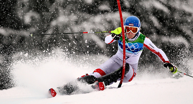 Austria's Marlies Schild passes a gate during the women's slalom at the XXI Olympic Winter Games Friday, February 26, 2010 in Whistler, British Columbia.  She won the silver medal.