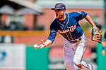 18 July 2018: New Hampshire Fisher Cats first baseman Gunnar Heidt tosses to the pitcher at first base for the first out in the 6th inning against the Trenton Thunder at Northeast Delta Dental Stadium in Manchester, NH. The Thunder defeated the Fisher Cats 3-2 concluding a previous game started April 29. Mandatory Credit: Ed Wolfstein Photo *** RAW (NEF) Image File Available ***
