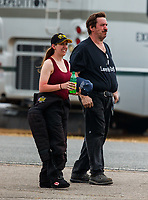 Mar 18, 2018; Gainesville, FL, USA; NHRA top fuel driver Audrey Worm (left) with father John Worm during the Gatornationals at Gainesville Raceway. Mandatory Credit: Mark J. Rebilas-USA TODAY Sports