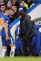 Gary Cahill of Chelsea holds his hamstring after being substituted  during Chelsea vs Leicester City, Premier League Football at Stamford Bridge on 13th January 2018