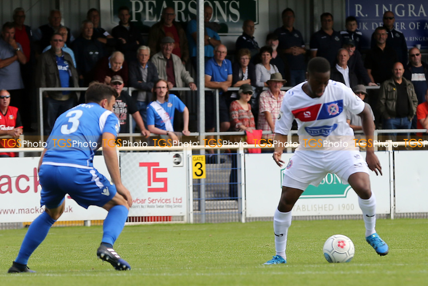 Michael Green  of Eastleigh and Fejiri Okenabirhie of Dagenham during Eastleigh vs Dagenham & Redbridge, Vanarama National League Football at the Silverlake Stadium on 12th August 2017