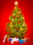 Beautiful decorated Christmas tree with colorful gifts under it. Artistic illustration isolated on bright red background. Image © MaximImages, License at https://www.maximimages.com