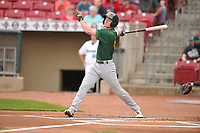 Beloit Snappers left fielder Cole Gruber (6) swings during a game against the Cedar Rapids Kernels at Veterans Memorial Stadium on April 9, 2017 in Cedar Rapids, Iowa.  The Kernels won 6-1.  (Dennis Hubbard/Four Seam Images)